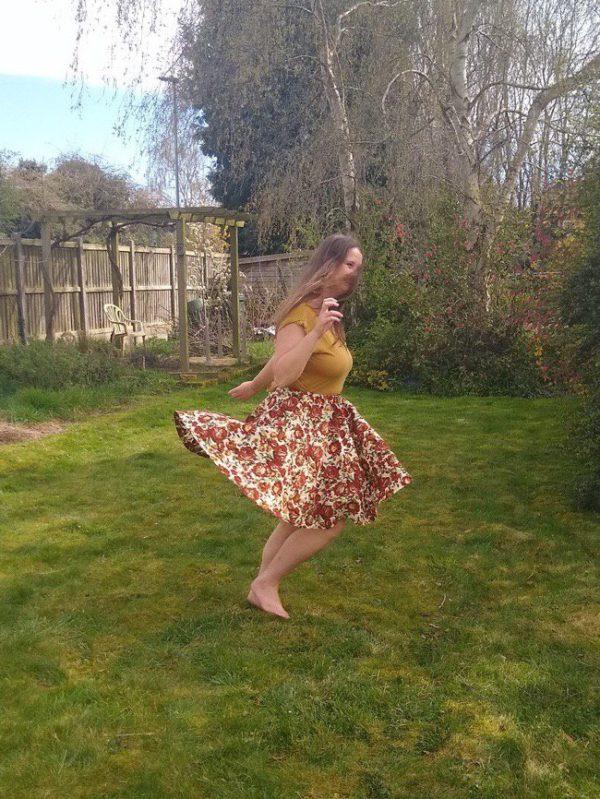 Hannah in her homemade skirt