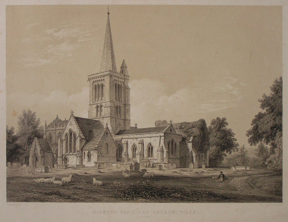 Lithograph - Bishops Cannings Church, Wilts. S.E. View - Day