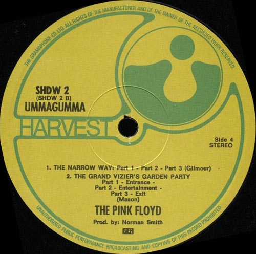 pink floyd harvest label