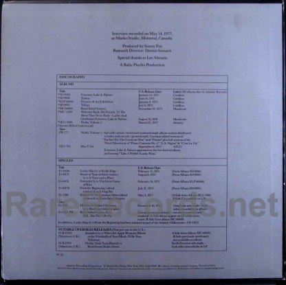 emerson lake & Palmer - on tour with radio show LP