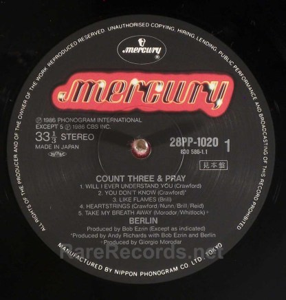 Berlin - Count Three & Pray Japan promo LP with obi
