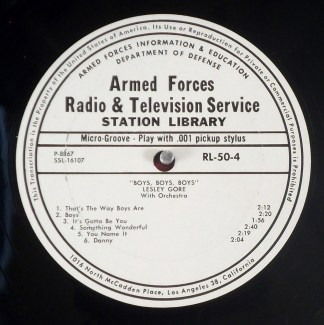 Lesley Gore - Boys, Boys, Boys rare mono Armed Forces promo LP