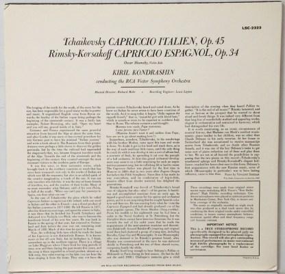 Tchaikovsky - Capriccio Italien - Kondrashin Classic Records 180 gram LP