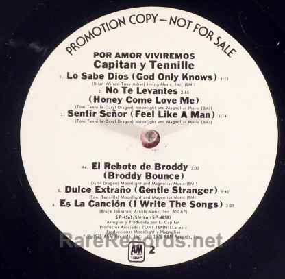 Captain & Tennille - Por Amor Viviremos first LP in Spanish white label promo