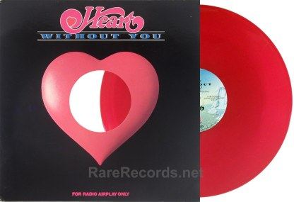 """Heart - Without You mono/stereo promo-only red vinyl 12"""""""