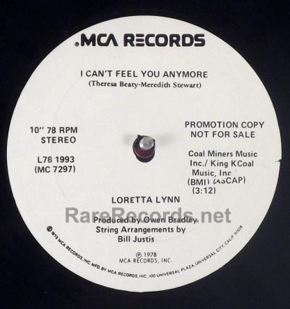"Loretta Lynn - We've Come a Long Way, Baby rare 1978 10"" 78 RPM promo single"