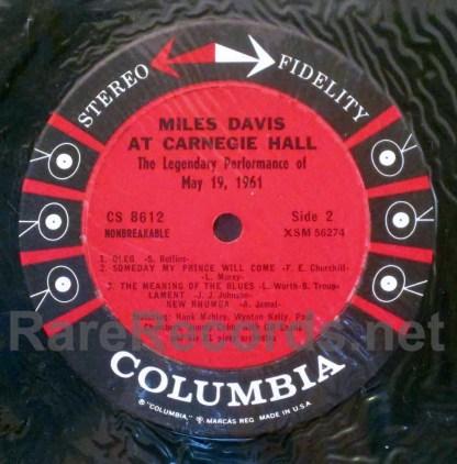 miles davis - at carnegie hall u.s. LP