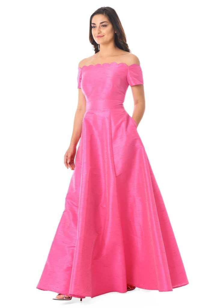 eshakti Scallop Off The Shoulder Dupioni Maxi Dress