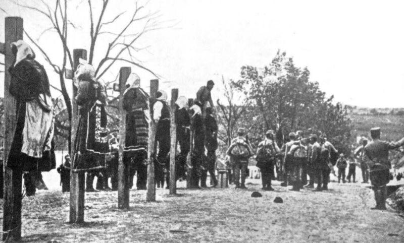 Hanged Serbian civilians, Macva, 1914.