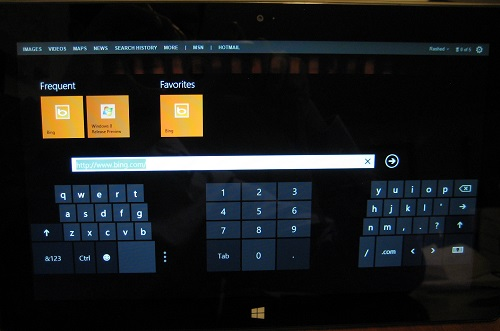 Microsoft Surface RT showing thumb accessible keyboard