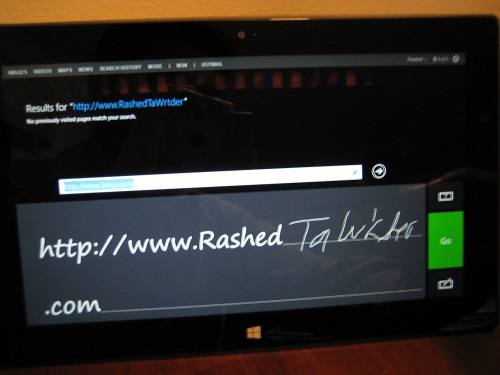 Microsoft Surface RT on-screen writing recognition keyboard