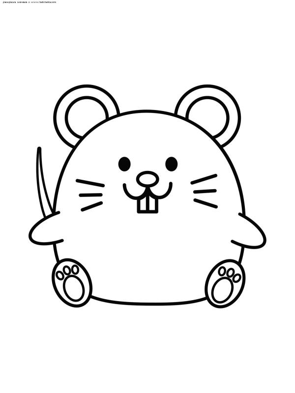 Раскраска Мышка | Раскраски мышей, символа 2020 Нового года