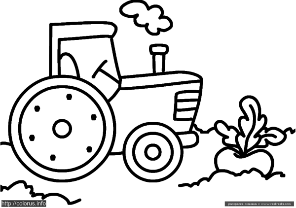 Раскраска Трактор | Раскраски для малышей. Простые раскраски.