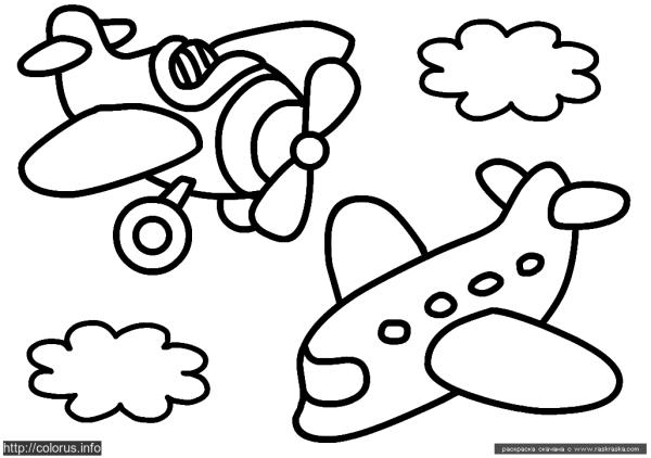 Раскраска Самолетики | Раскраски для малышей. Простые ...