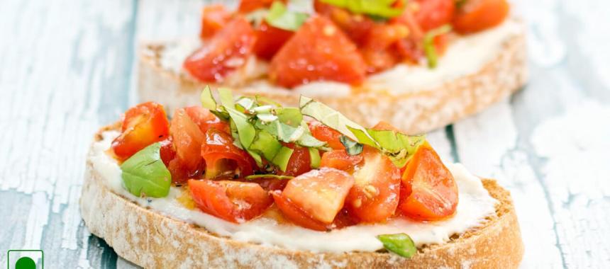Avocado, Tomato, Olive and Basil Bruschetta Recipe