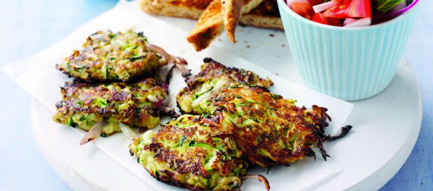 Mini Persian Zucchini Fritters with Feta Cheese and Mint Recipe