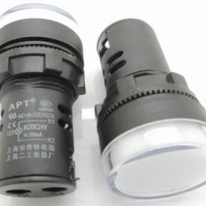 White 16MM Highlighting the LEDindicator light AD16opening 16 mm - 24 VOLT DC