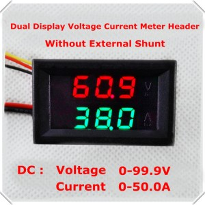DC0-100V/50A Red+Red dual LED Display 0.28 Car Voltaggio current meter Digitale Amperometro Voltmetro 5 wire No shunt
