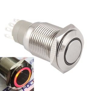 Self-locking Pulsante with Red LED 16mm 12V Metal bottone