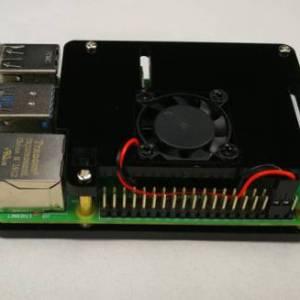 Ventola singola + custodia in acrilico nero a 2 strati per Raspberry PI 4
