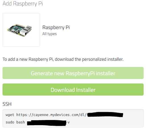 Generate your myDevices Cayenne installation script to use on your Raspberry Pi