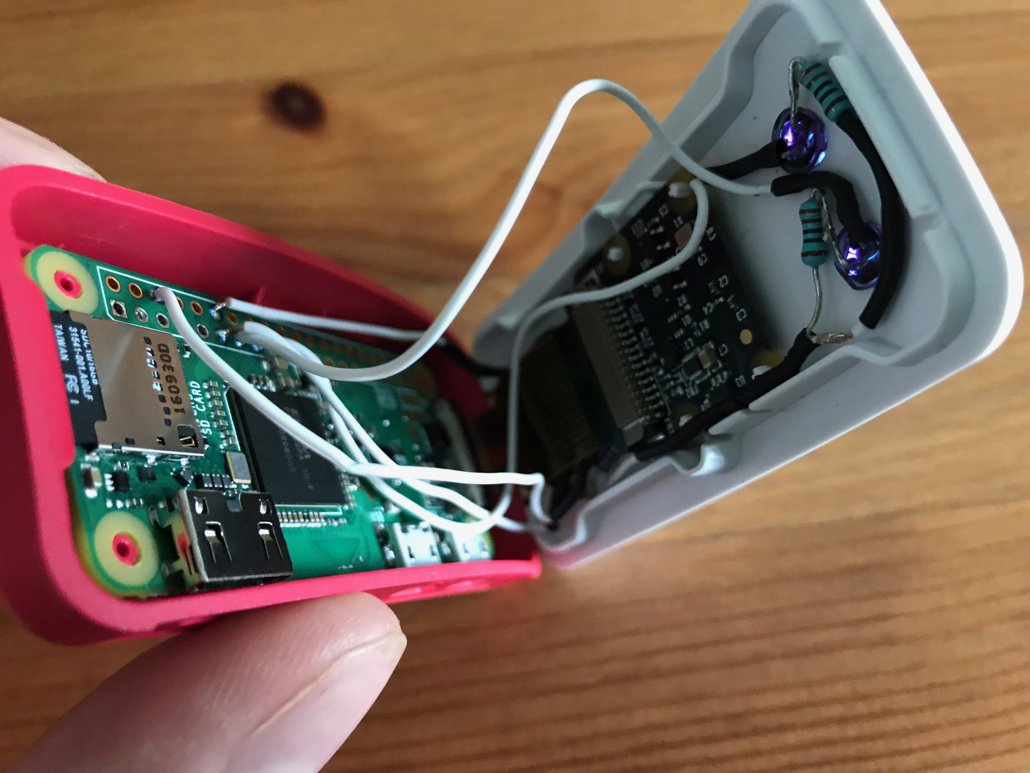Official Raspberry Pi Zero Case Led Hack Coulis Hacks And Mods Diy Camera Assembling The To Ensure That Wires Were Placed In Best Position