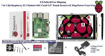 7 in 1 Kit Raspberry Pi 3B + Module&16G Card&8.9cm Touch Screen&us Power&case