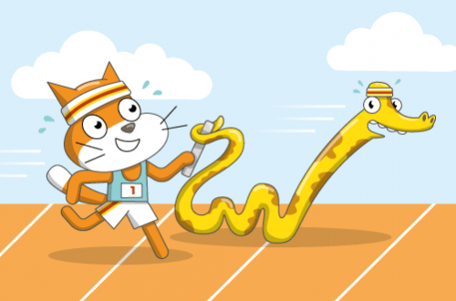 Scratch Cat and a Python doing a relay race