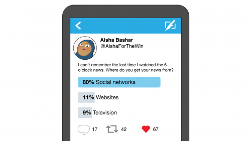An illustration of a phone screen showing an invented tweet asking where people get their news from