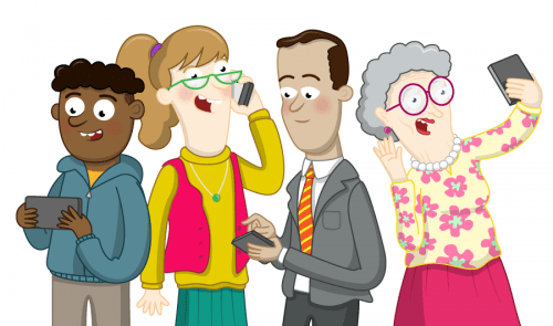 An illustration of four people using smartphones