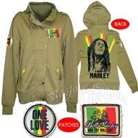 Bob Marley One Love Military Green Zip Hoodie - Women's