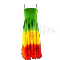 Rasta and Flower Print Spaghetti Strap Dress