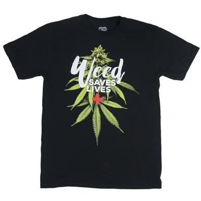 Seven Leaf Weed Saves Lives Black T-Shirt – Men's