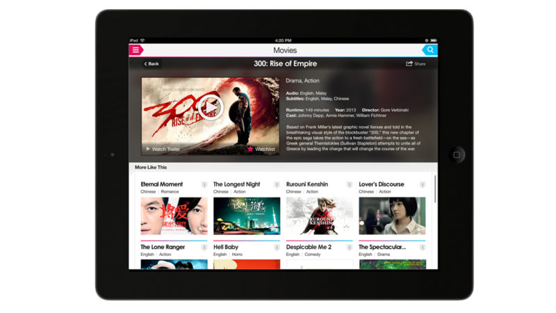 Entertainment app on tablet