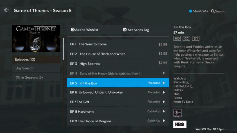 TV Season Episode list