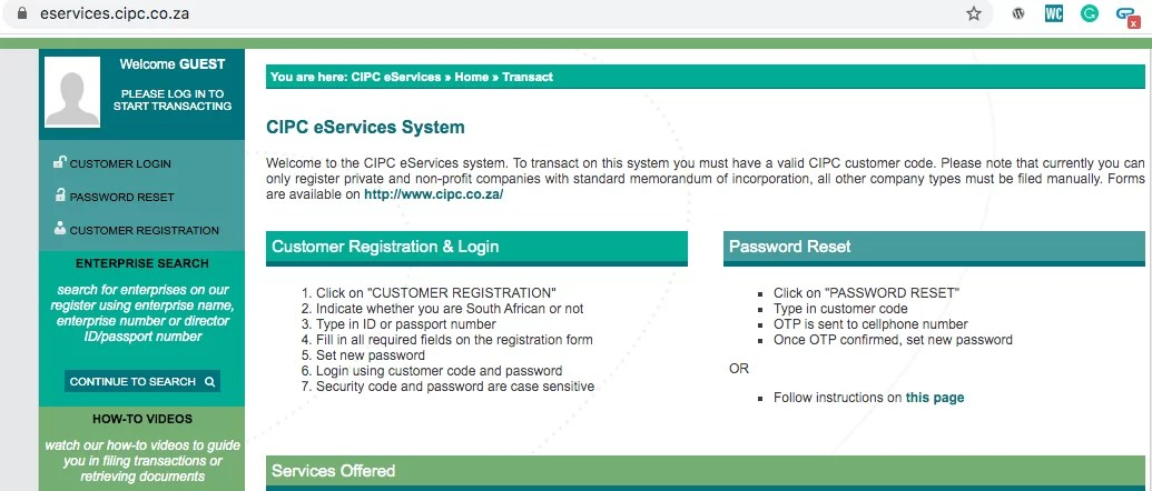 Customer Registration on registering a company in South Africa