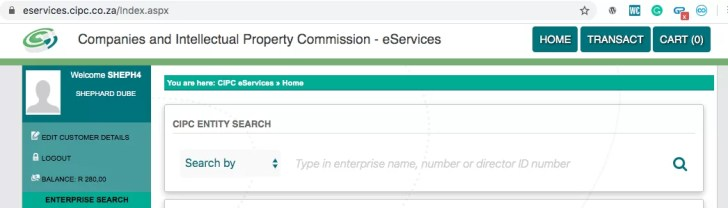 transaction button on the CIPC dashboard