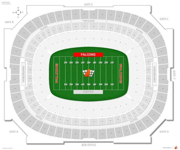 Ga dome seating chart with seat numbers for Mercedes benz dome atlanta seating chart