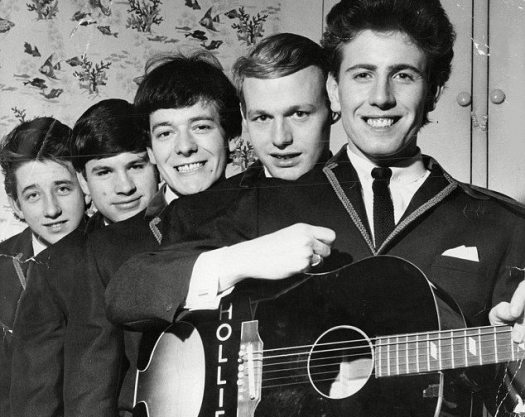 Hollies are from Manchester: black and white photo of the Hollies in 1964.
