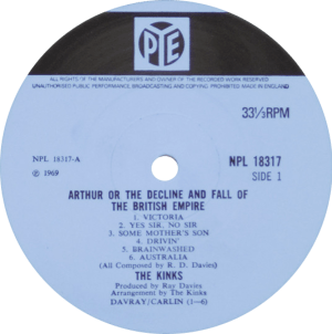 Arthur album: original mono label for ARTHUR LP album on Pye from England.