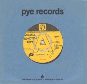 Arthur album: yellow label promo copy of SHANGRI-LA single on Pye UK.