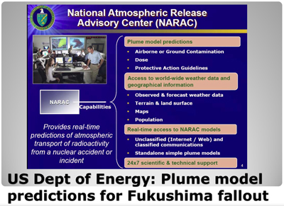 US Dept of Energy: Plume Model predictions for Fukushima fallout