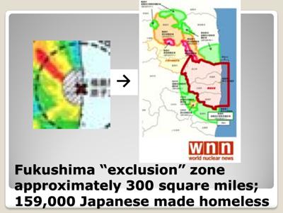 "Fukushima ""exclusion"" zone approximately 300 square miles; 159,000 Japanese made homeless"