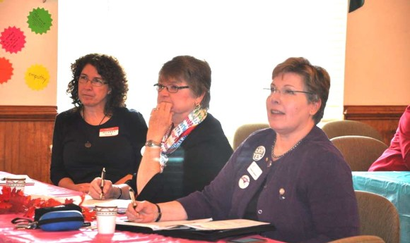 Pictured, from left, are Audrey Muck, NOW; Pat Sledge, BPW; and Virginia Adamson, BPW.