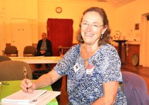 Sharon Burlingame, president of the Henderson County League of Women Voters, during a light moment.