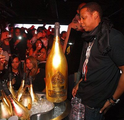 JayZ with a magnum of Ace of Spades.