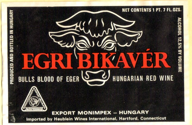 "Another Hungarian wine label featuring ""Bulls Blood"""