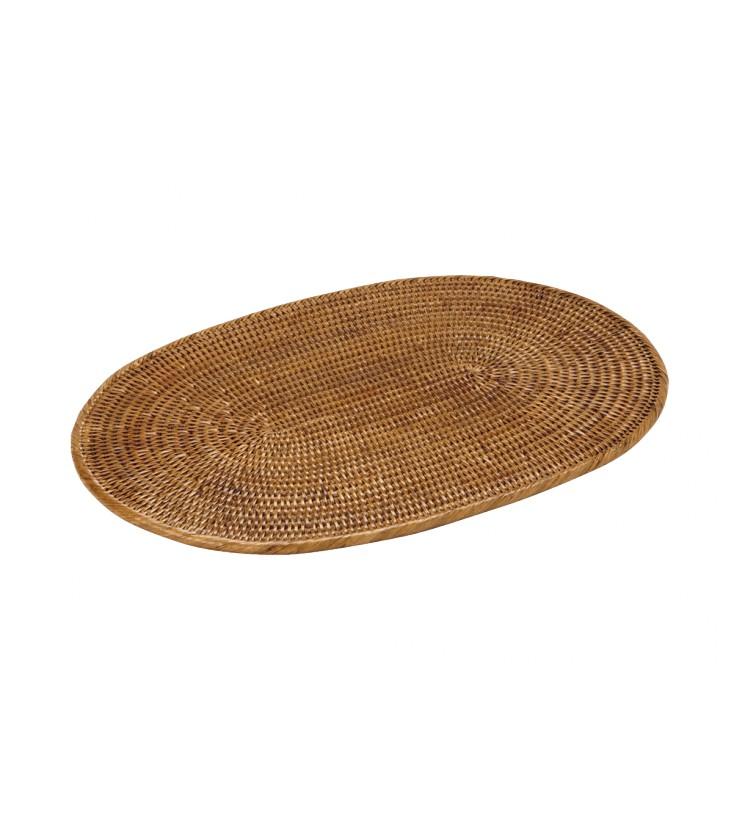 set of oval table navy rattan honey