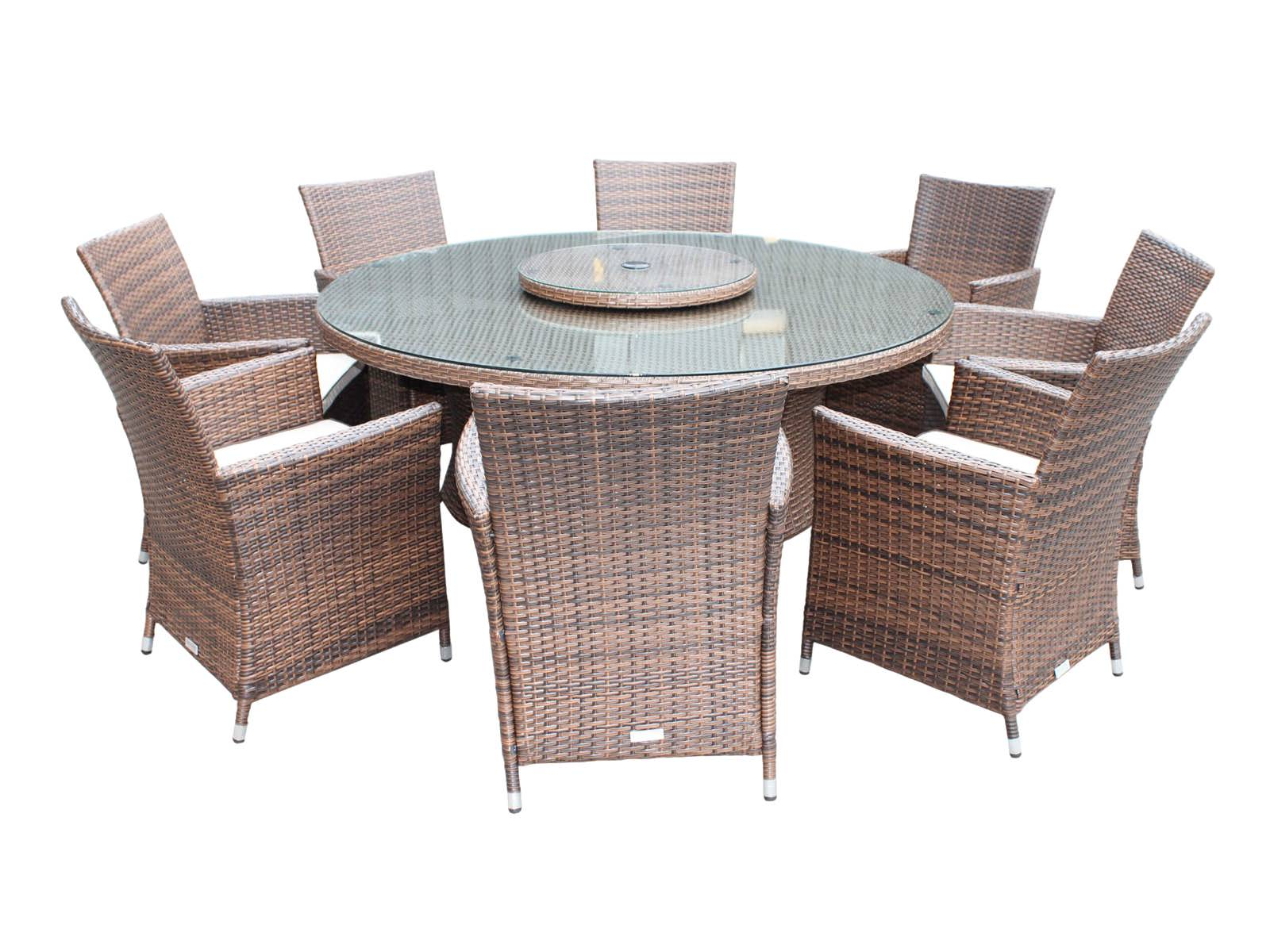 Cambridge 8 Chairs And Large Round Table Set In Chocolate And Cream