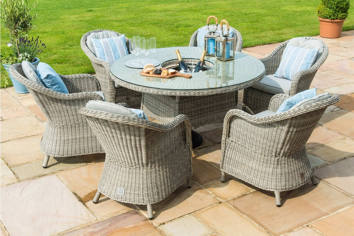 maze rattan oxford 6 seat round ice bucket dining set with heritage chairs
